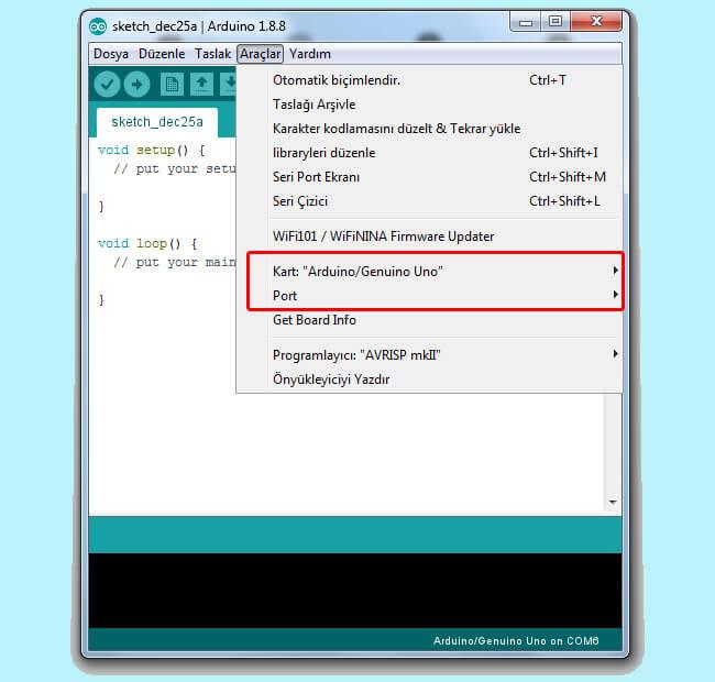 arduino-programı-kart-ve-port-seçimi