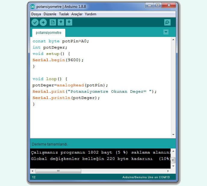 potansiyometre-arduino-kodları
