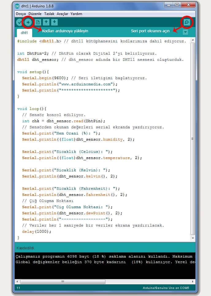 arduino-dht11-kodlari