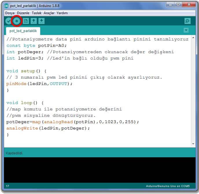 potansiyometre-ile-led-parlaklik-kontrolu-arduino-kod